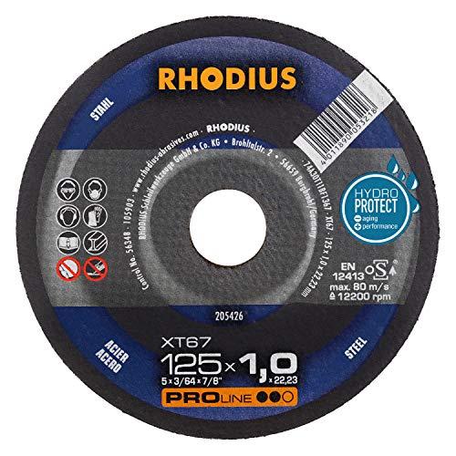 RHODIUS extra dünne Trennscheiben Stahl XT67 Made in Germany Ø 125 x 1,0 mm für Winkelschleifer Metalltrennscheibe 10 Stück
