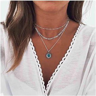 Nicute Boho - Collana a strati con ciondolo turchese e perline in argento, accessori per donne e ragazze