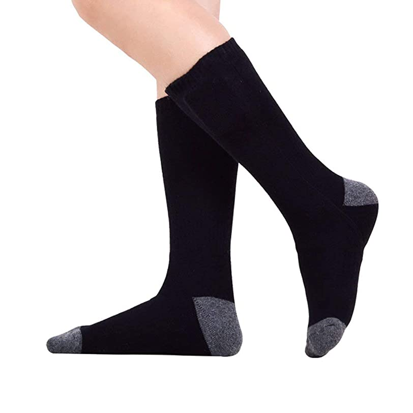 リネン秋死温度調節可能なリチウム電池暖かい靴下を加熱する男性と女性を加熱する暖かい靴下を充電する暖かいホットソックス-ブラック