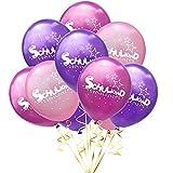Oblique Unique® 10 Luftballons mit Schulkind und Stern Motiven für Schuleinführung Einschulung Schulanfang Schulstart Deko Ballons Farbmix Mädchen