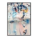 Geiqianjiumai Cartel Abstracto Lienzo impresión de Arte decoración Color diseño de Moda Sala Imagen de la Pared sin Marco Pintura 60x90cm