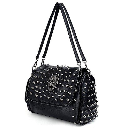 UTO Women Skull Shoulder Bag Rivet Studded Satchel Smooth PU Leather Purse Bags 472A
