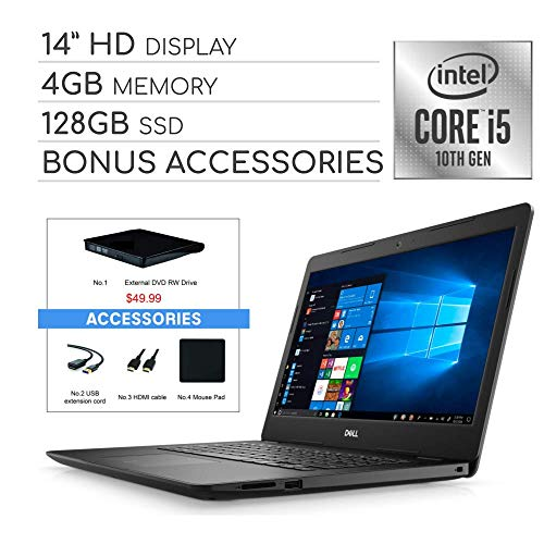 """Dell Inspiron 2020 14"""" HD Laptop Computer, 4-Core Intel i5-1035G4 up to 3.7 GHz, Iris Plus Graphics, 4GB RAM, 128GB SSD, Webcam,Bluetooth,Wi-Fi,HDMI, Win 10 S, VAATE External DVD+ Accessories"""