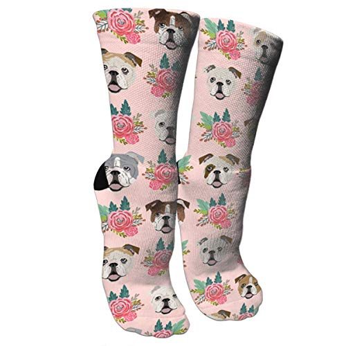 English Bulldog Pink Florals Compression Socks Unisex Printed Socks Crazy Patterned Fun Long Cotton Socks Over The Calf Tube