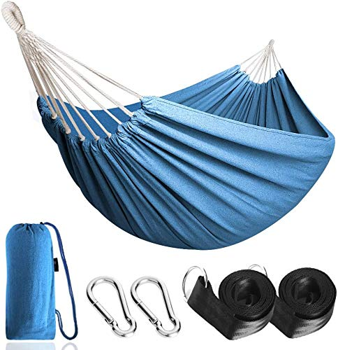 Tfsulengcl Outdoor Cotton Hammock Multiples 210 x 150 cm, Load Capacity up to 200 kg Portable with Carrying Bag for Patio Yard Garden,Royal Blue