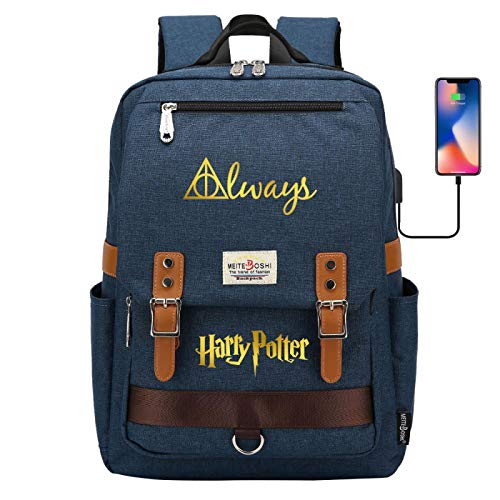 DDDWWW Fashion Student Backpack Casual Retro School Bag Outdoor Travel Mountaineering Backpack Harrypotter Navy