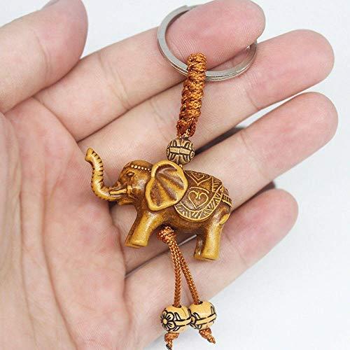 NGHXZ Tallado de Madera Hecho a Mano Elefante de la Suerte Llavero Anillo Malvado defiende Elefante Colgante Mujeres niña artesanía Regalos