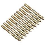 Viti M8 da legno a metallo per mobili, tasselli a doppia testa, bulloni di fissaggio filettati, 10 pezzi