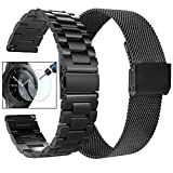 Koreda Compatible with Samsung Galaxy Watch 46mm/Gear S3 Frontier/Classic Bands Sets, 22mm Stainless Steel Metal Band + Mesh Loop Strap Replacement for Galaxy Watch 3 45mm/Ticwatch Pro Smartwatch