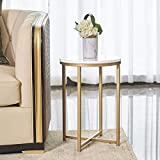 Round Side End Table with Marble Top&Gold Base, Modern Bedside Small Coffee Table for Bedroom Living Room, 14' D 20' H