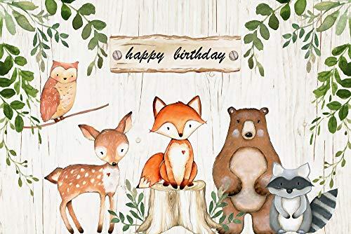 BDDFOTO 1.5X2M bebé niños Fiesta de cumpleaños Animal Banner Papel Tapiz Fondo de fotografía, Telón de Fondo Plegable y Reutilizable, Ventas directas de fábrica Personalizar Fondos