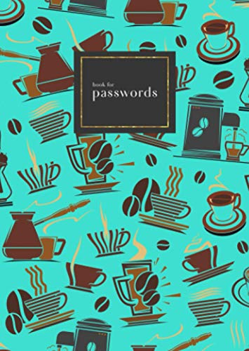 Book for Passwords: B6 Small Internet Address Notebook with A-Z Alphabetical Index   Coffee Maker Cup Bean Design   Turquoise