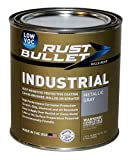 Rust Bullet Industrial Low VOC - Rust Inhibitor Paint, Industrial Strength Rust Preventive Protective Coating - UV Resistant - No Topcoat Needed (Metallic Gray, Quart)