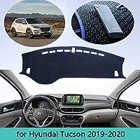 車のダッシュボードを避けライトパッドインストゥルメントプラットフォームデスクカバーマットカーペットヒュンダイツーソンTL Facelif 2019 2020カーデコレーション (Color : LHD, Size : Polyester Blue Edge)