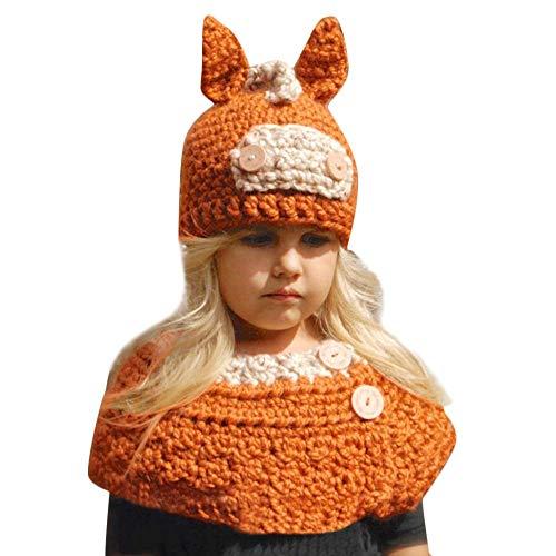 2pc/ Set écharpe enfants, Mamum Bonnet + Tour de Cou Hiver Bébé Enfants Cagoule Chaud Casquette Echarpe Capuche Chapeaux Mignon (orange)