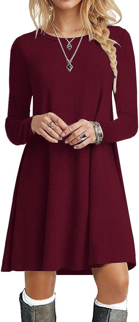 POPYOUNG Women's Long Sleeve T Shirt Dresses Casual Swing Dress