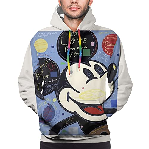 Sudadera con capucha de Mickey Cartoon Mouse, para hombre, manga larga, casual, elegante, colorido, cuerda L negro