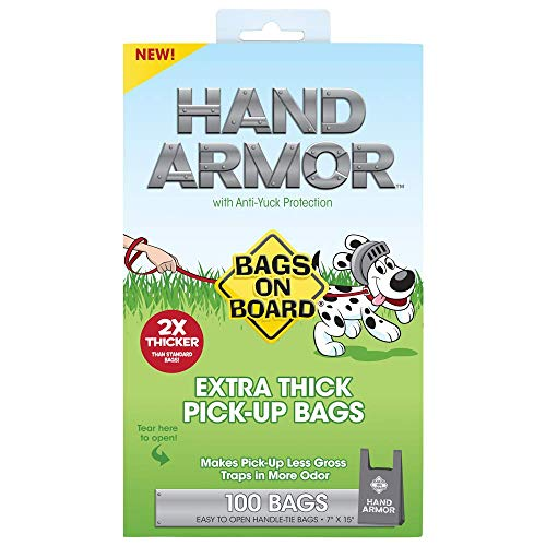 Bags On Board Hand Armor Dog Poop Bags | Extra Thick Dog Waste Bags with Leak Proof Protection | 7x15 Inches, 100 Bags Bags On Board Leash