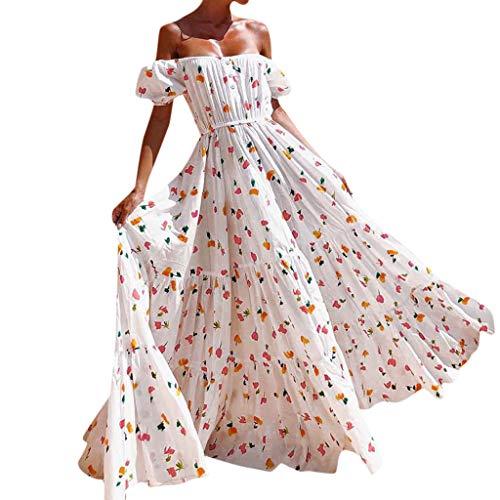 Shinehua zomerjurk voor dames, sexy maxi-jurk, schoudervrij, boho, bloemen, strandjurk, lange feestjurk, zonder rug, elegante cocktailjurk, bruiloftsjurk, baljurk, lange jurk