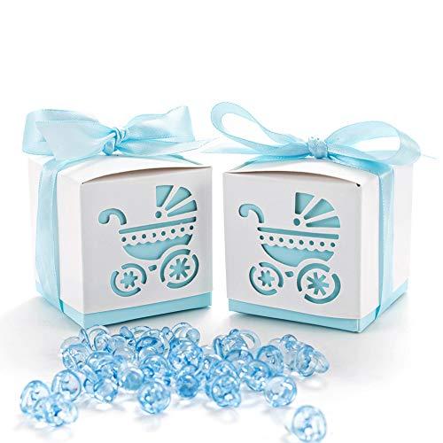 QILICZ 50 STK. Gastgeschenk Süßigkeiten Schachtel mit 50 Mini Dekoschnuller, Kinderwagen Muster Candy Box für Baby Junge Geburtstag Taufe Neugeborenen Babyparty Shower Konfirmation Kommunion