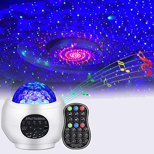 Proiettore Stelle Bambini Lampada LED Luci Proiettore Romantica Cielo Stellato e Oceano Lampada con Altoparlante Bluetooth Musicale Telecomando per Bambini Adulti Regalo Decorazioni