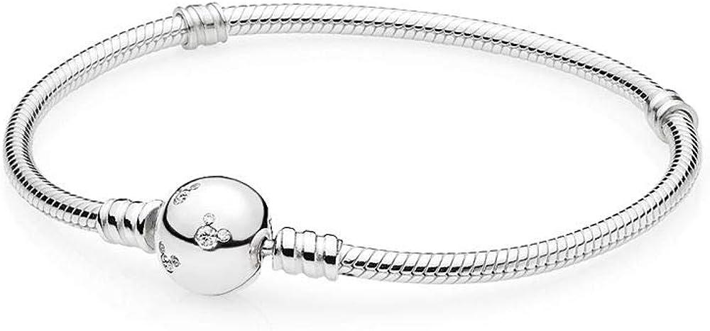 Pandora disney, bracciale da donna in maglia snake e mickey mouse scintillante in argento sterling 925 590731CZ-19