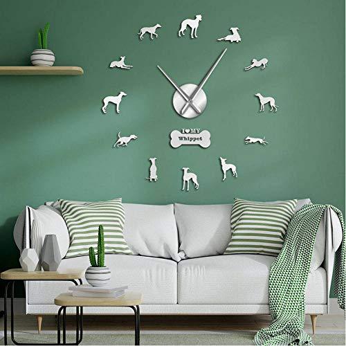guyuell Retrato de Perro Whippet de Gran tamaño 3D acrílico DIY Reloj de Pared Galgo Italiano Canino Animal Espejo Efecto Pegatinas de Pared Reloj-Silver_27inch