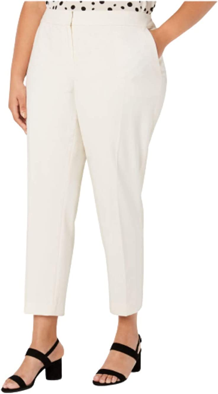 Bar III Womens Ivory Pocketed Wear to Work Pants Size 24W