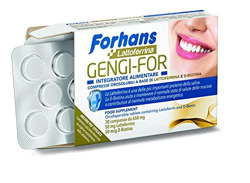 Forhans, Compresse Orosolubili Gengi-For, Integratore Alimentare per la Salute Orale, con Lattoferrina e D-Biotina, Azione Protettiva, Antibatterica, Confezione da 30 Compresse