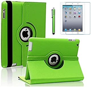 AiSMei Case for iPad 4 (2012), Rotating Stand Case Cover for 9.7'' Apple iPad A1395, A1396, A1397, A1403, A1416, A1430, A1458, A1459, A1460, Bonus Stylus Film, Green