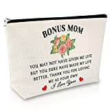 Bonus Moms Gifts Makeup Bags Funny Birthday Gifts for Women Stepmother Gifts from Daughter Son Cosmetic Bag Gifts for Mother In Law Travel Cosmetic Pouch Mother's Day Christmas Gift