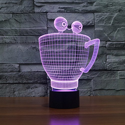 beiping 3D Illusion Blindfold Shape Coffee Cup Smart Touch Night Light 16 Color Change Desk Decoration Lamps Best Birthday Gift