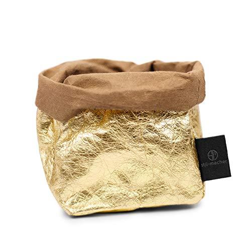 stil-macher Designer Krempelkorb | Gr. S | Aufbewahrungskorb aus waschbarem Papier | Lederoptik | VEGAN | Deko-Box | Geschenkbox | Übertopf | 9cm x 9cm x16cm … (Gold)