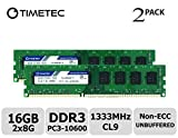 Timetec Hynix IC 16GB Kit (2x8GB) DDR3 1333MHz PC3-10600 Unbuffered Non-ECC 1.5V CL9 2Rx8 Dual Rank 240 Pin UDIMM Bureau Mémoire RAM Module Upgrade (16GB Kit (2x8GB))