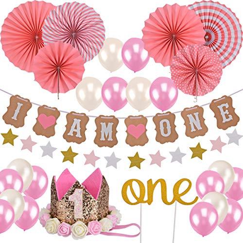 Queta Baby Mädchen ersten Geburtstag Dekorationen Set, Princess Pink Theme Kit, 1 Jahr Tiara Crown Hut, Cake Topper, Ballons, Banner, mehr Dekor-Zubehör