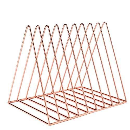 Wrought Iron Handy Solid Book Holder Book Organizer Book Stand Folder File Storage Magazine Rack Desktop Book Shelf (Color : Pink)