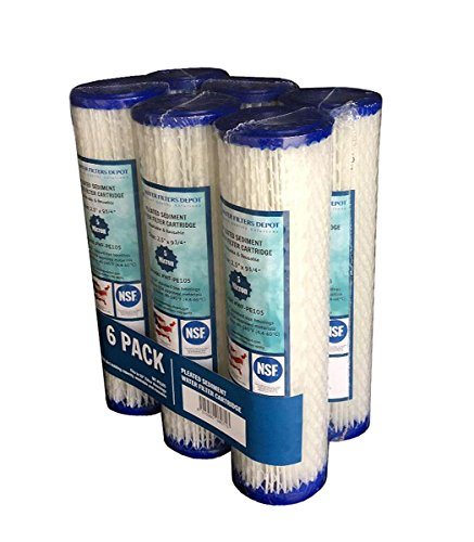 WFD, WF-PE105 2.5'x9-3/4' 5 Micron Pleated Sediment Water Filter Cartridge, Fits in 10' Standard Size Housings of Undersink RO or Filtration Systems (6 Pack, 5 Micron)
