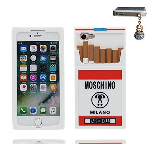 EarthNanLiuPowerTu iPhone 6S Hülle, Stoßdämpfer mit Kameraschutz, handyhülle für iPhone 6s 6 4.7' Case Soft Flexible TPU Gummi Anti-Kratzschutz + Staubstecker/Cartoon Entworfen 3D Cigarette