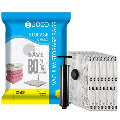 SUOCO Vacuum Storage Bags 8 Pack Medium 28 x 20 Space Saver Compression Bags with Travel Hand Pump
