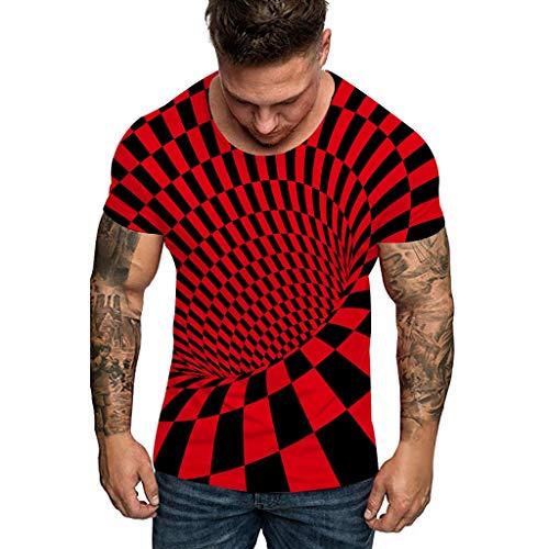 serliy😛Top Herren T-Shirt 3D Print Kurzarm-Shirt Top Sweatshirt Slim Fit Tops Sweater Männer kurzen Ärmeln Tees Casual Kurzarm T-Shirts O-Neck modernes Blouse