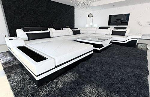 Sofa Dreams XXL Wohnlandschaft Mezzo Weiss-schwarz