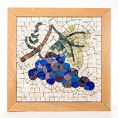 """DIY MOSAIC KIT Four Seasons Fall 9""""x9"""" Arts and Crafts for adults/Different gifts/Kitchen decor grapes/Feng Shui wealth/Creative hobbies/Puzzle games/Mosaic making kit marble & glass tiles"""