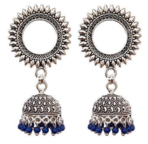 Pahal - Pendientes redondos de plata oxidada tribal, estilo jhumka, perlas azules, joyería de boda india