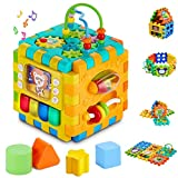 Activity Cube Baby Toys - 6 in 1 Shape Sorter Early Development Educational Toy Gift for 1 Year Old Boy Girl