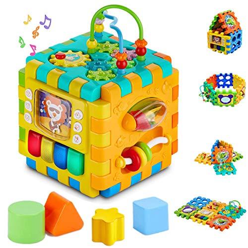 INvench Cube d'Activités Ludiques Jouet Educatif - 6 dans 1 Centre D'activités Réveils éducatifs Formes et Couleurs Jouets pour Jeunes Enfants Cadeau de Noël