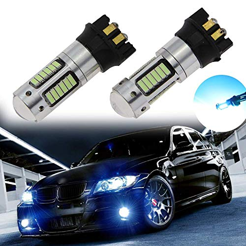 Xotic Tech Pair 30-SMD 8000K Ice Blue PW24W LED Projector Lens Fog Light Bulbs Compatible with BMW F30 3-Series 320i 328i 335i or MK7 Golf GTI
