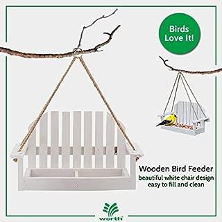 Worth Garden Wooden Bird Feeder with White Swing Chair Design