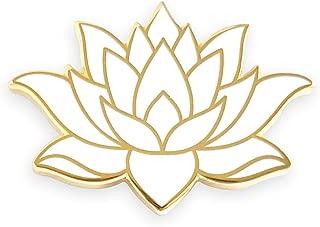 Pinsanity White Lotus Flower Enamel Lapel Pin