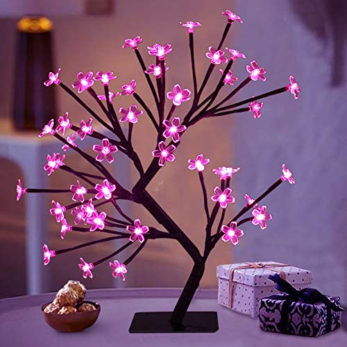 "Bright Zeal 18"" LED Cherry Blossom Tree Light with Timer - Battery Operated LED Lighted Flower Table Top - Lighted Bonsai Tree Table Lamp Modern Home Decor - Lit Tree Centerpieces Indoor Decor BZY"