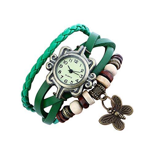 Demarkt Retro Vintage Damen Frauen Armbanduhr Armreif Uhr Schmetterling Design Anhänger Spangenuhr Quarzuhren (Grün)
